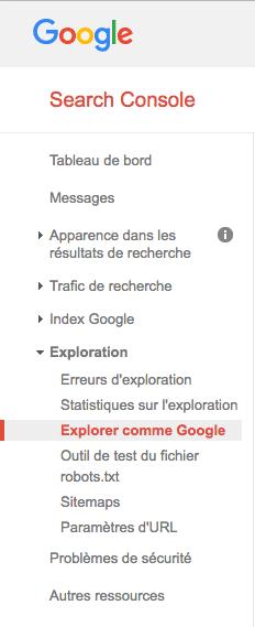 Menu Google Webmaster Tools