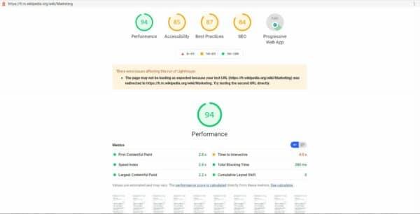 Google Lighthouse audite