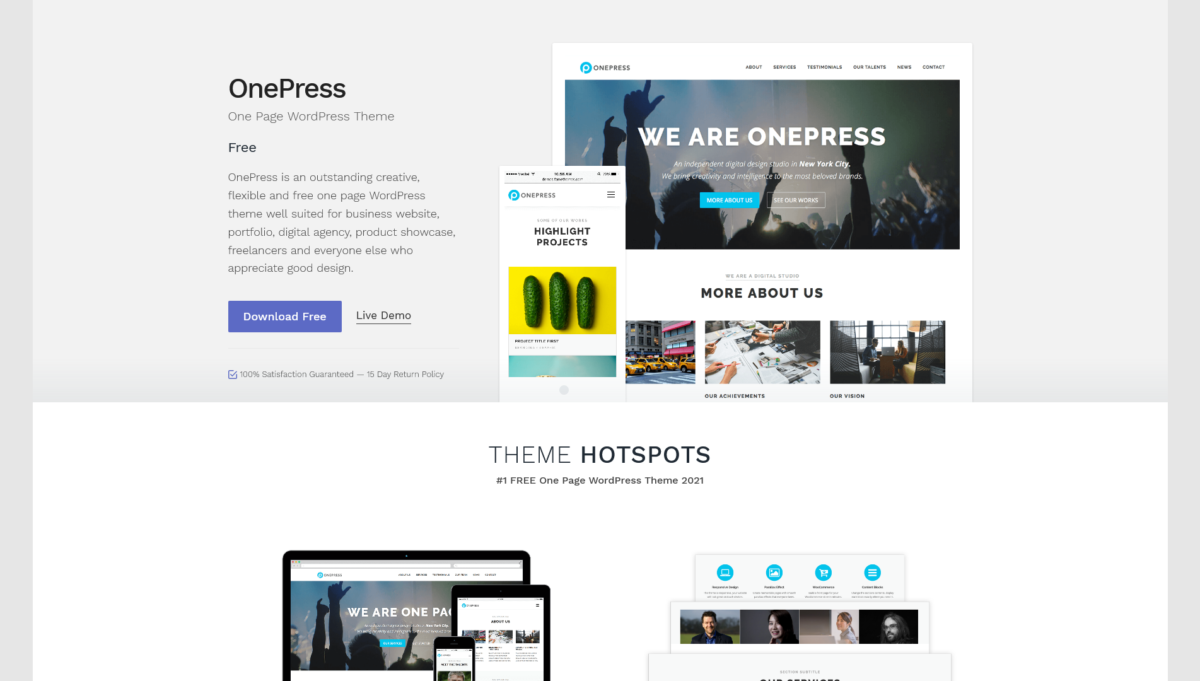 OnePress thème WordPress template