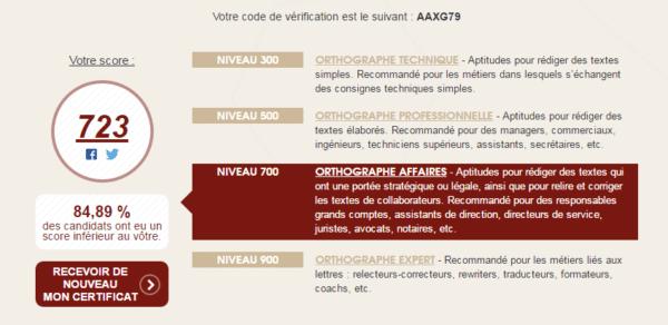 Exemple d'un certificat Voltaire attestant votre niveau d'orthographe